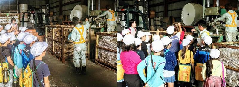 永田紙業の工場見学風景